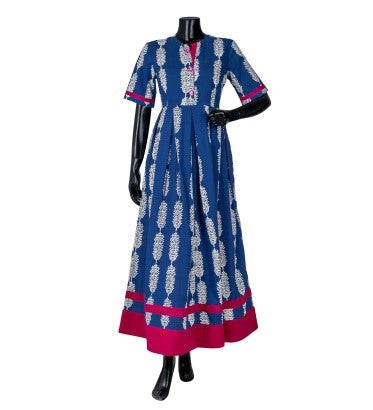 Indigo Half Sleeve Pleated Indo Western Dress