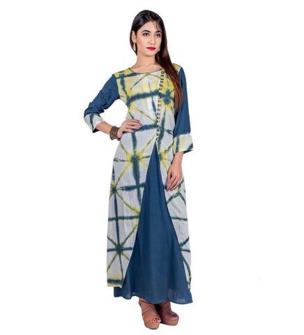 Indigo Indo Western Dress with Tie and Dye Outer