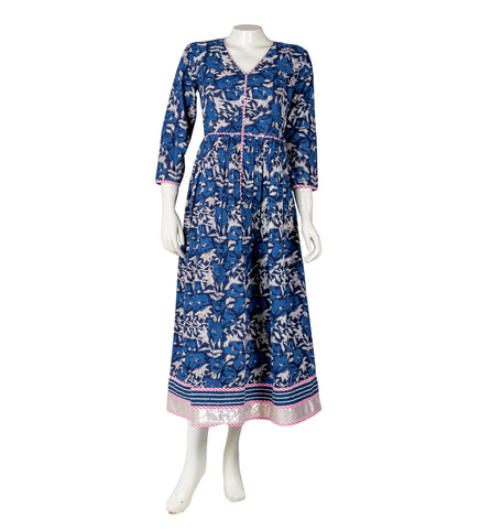 Indigo / Pink Pleated Indo Western Dress