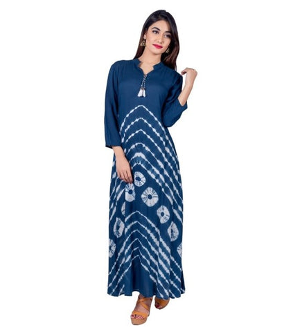 Indigo Tie and Dye Tasseled Indo Western Dress