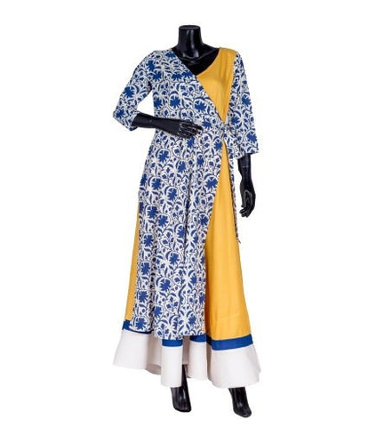 Indigo and Mustard Hand Block Printed Wrap Dress
