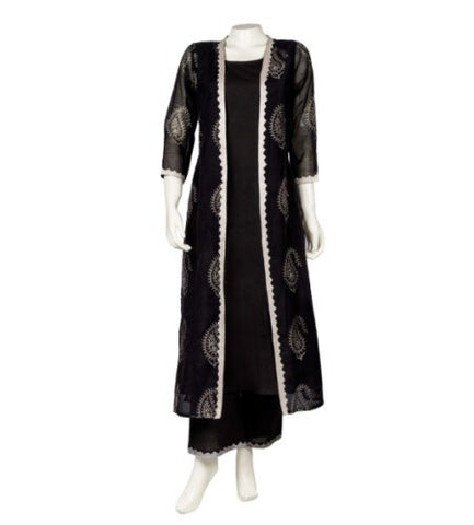 Jacket Style Double Layered Chanderi Printed Kurta