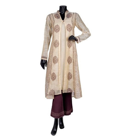 Jacket Style Front Open Asymmetrical Kurta With Flared Palazzos