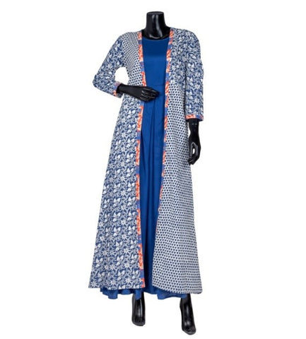 Jacket Style Princess Cut Indigo Indo Western Dress