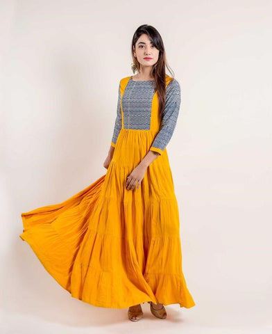 Layered Mustard Yellow / Chevron Indo Western Dress