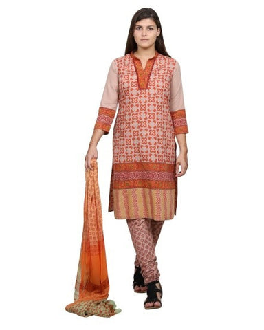 Light Brown and Orange Hand Block Printed Suit Set