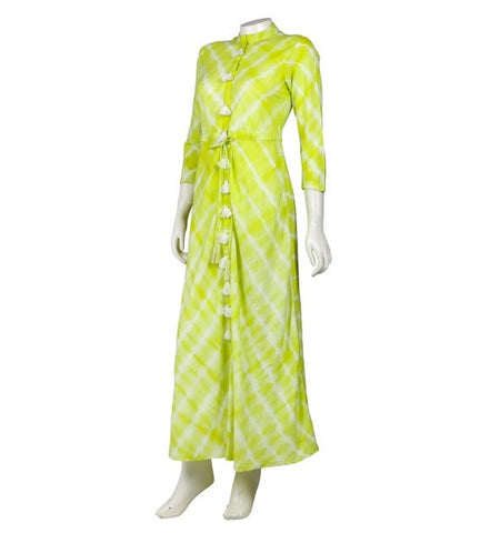 Lime Indo Western Dress with Front Tassels and Buttons
