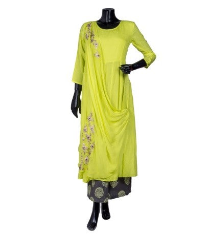 Lime and Beige Embroidered Kurta with Front Attached Duppatta and Palazzo