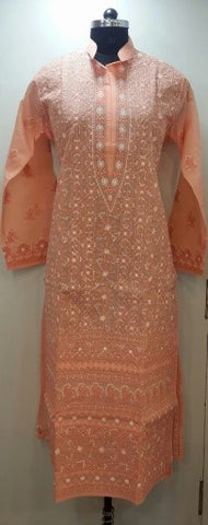 Lucknowi Chikan Embroidered Neckline