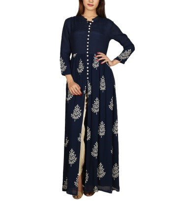 NaVy Blue Hand Block Print and Embroidered Cape Kurta with Pants