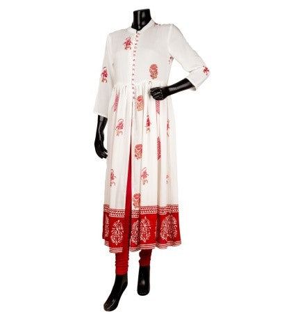 Off White Pink Hand Block Print Cotton Cape Kurta
