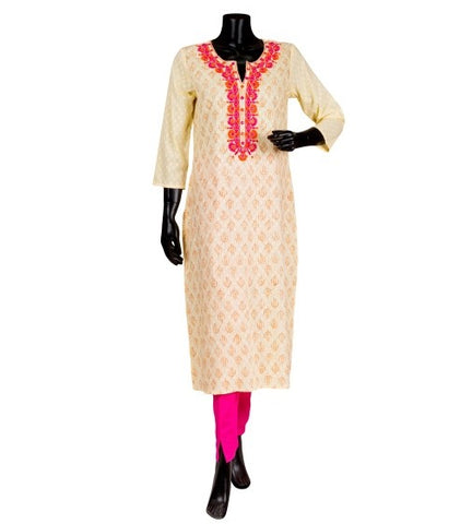Off White and Pink Hand Block Printed Embroidered Kurta