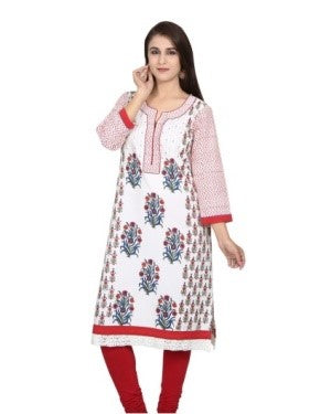 Offwhite and Red Block Printed Cotton Kurta