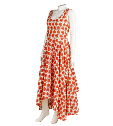 Orange Hand Block Printed High Low Dress