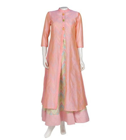 Peach Ikat Chanderi Double Layer Hand Block Print Indo Western Dress