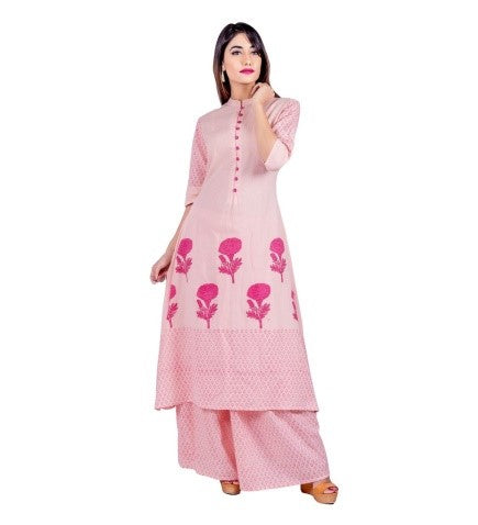 Pink Hand Block Print Indo Western Kurta with Matching Skirt