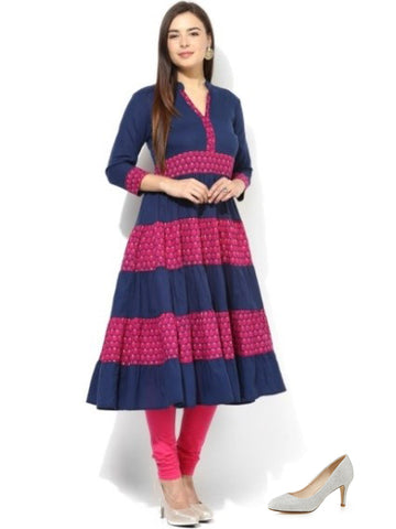 Anarkali Cotton Kurta with High Heels or Pumps