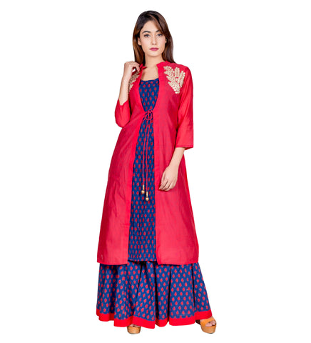 Red indo western dresses for engagement