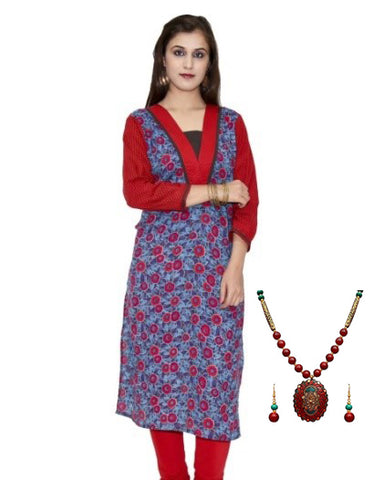 Red and blue hand block printed 3/4 sleeved kurta