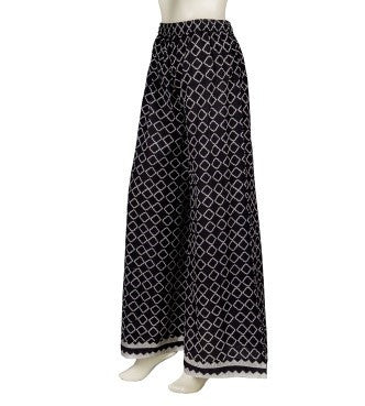 Retro Style Embroidered Hand Block Print Wide Leg Palazzos