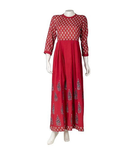 Rust Hand Block Print Indo Western Dress