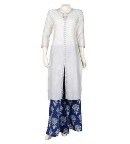 Split Neck Embroidered Chanderi Indo Western Dress With Printed Palazzo