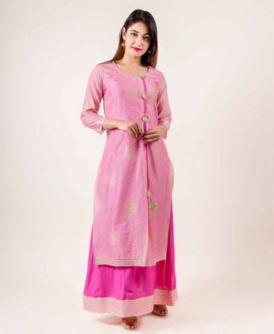 Tasseled Chanderi Pink indo western dress for engagement