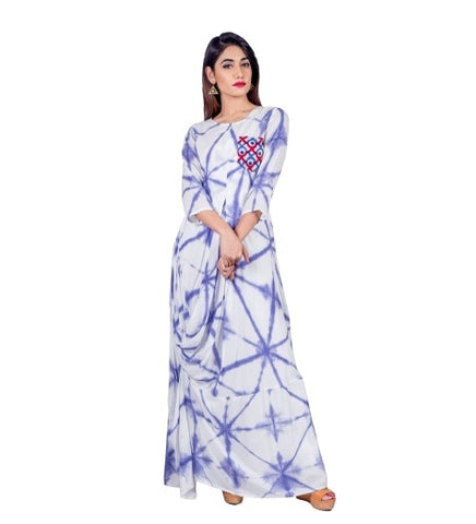 Tie and Dye Purple / White Gown Style Indo Western Dress