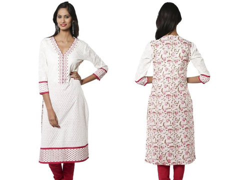 V-Neck White and Pink Embroidered Designer Kurta