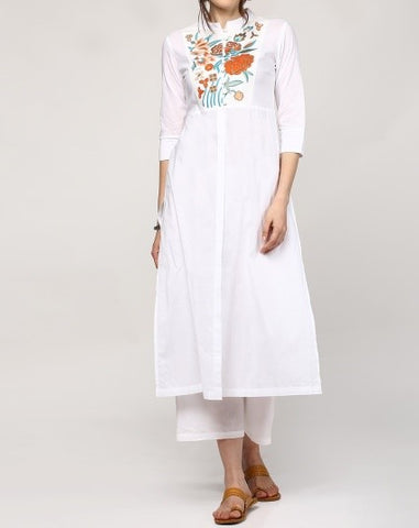 White A-Cut Style Embroidered Designer Kurta