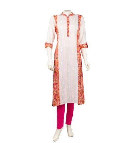 White / Orange Hand Block Printed Embroidered Kurta