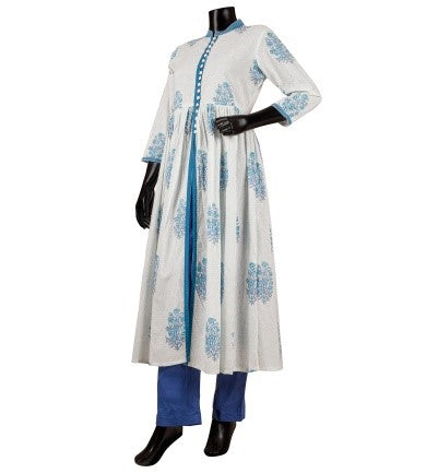 White and Blue Hand Block Print Cape Kurta