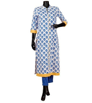 White and Blue Hand Block Print Indo Western Kurta