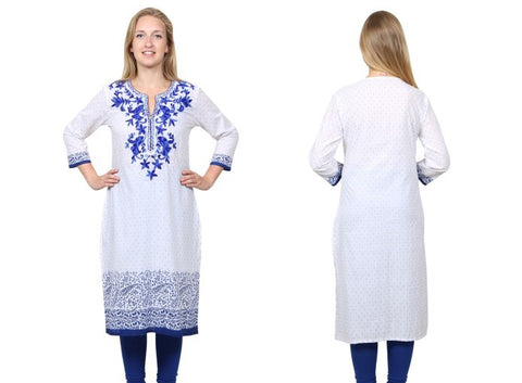 White and Blue Jacquard Embroidered Designer Kurta