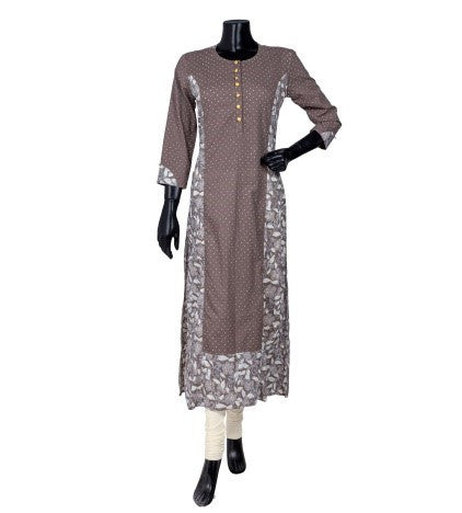 White and Brown Panel Block Printed Straight Cut Kurta