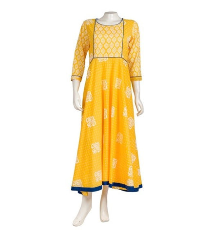 Yellow Hand Block Print Indo Western Dress