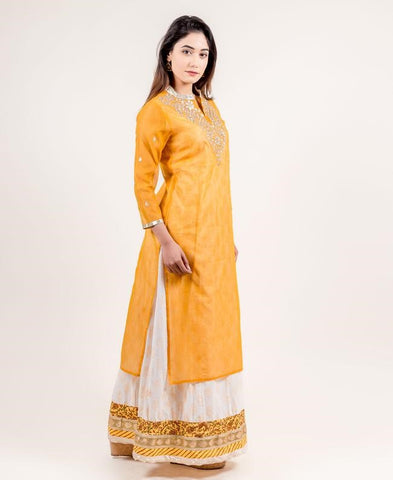 Yellow Hand Block Printed Floor Length Indo Western Dress