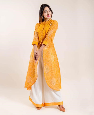 Yellow Tulip Style Chanderi Front Slit Printed Kurta with Palazz