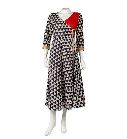 Hand Block Printed Angrakha Dress with Embroidered Sleeves