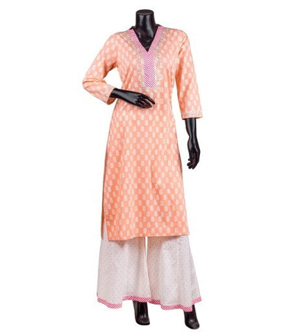 V-Neck Kurta with Flayered Palazzo