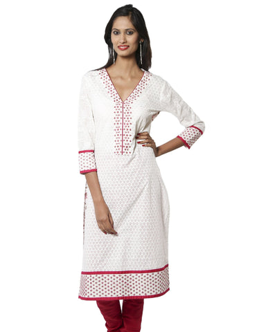 White and Pink Embroidered Kurta