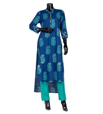 Indigo Blue High Low Mandarin Flat Collar Kurta