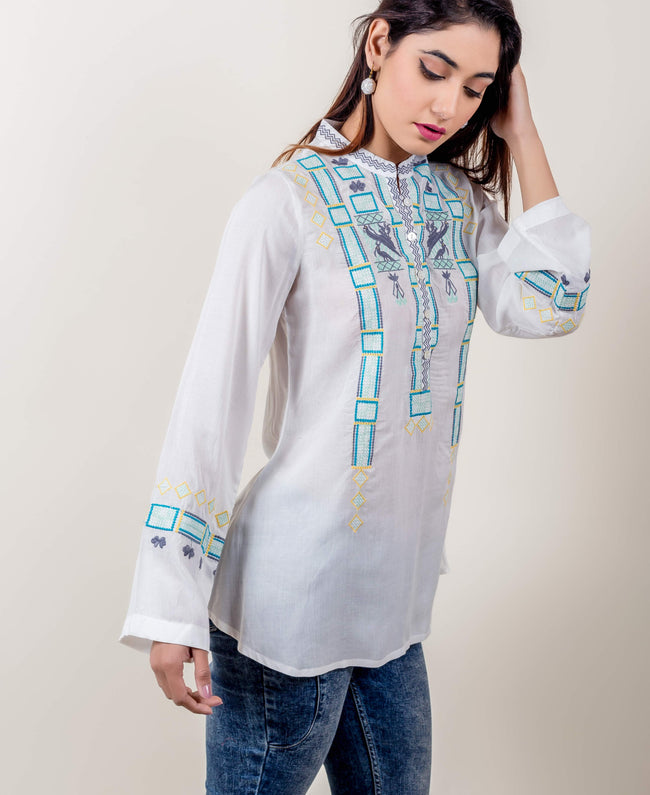 White / Ice Green Embroidered Blouse