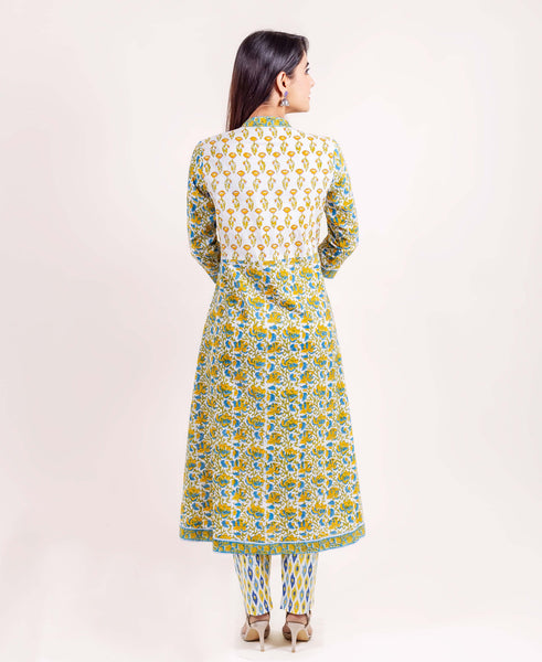 3-4 Sleeve hand block printed indian dresses for women