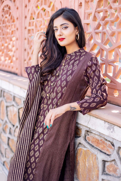 3-4 sleeves brown rayon kurtis with dupatta and pants online shopping
