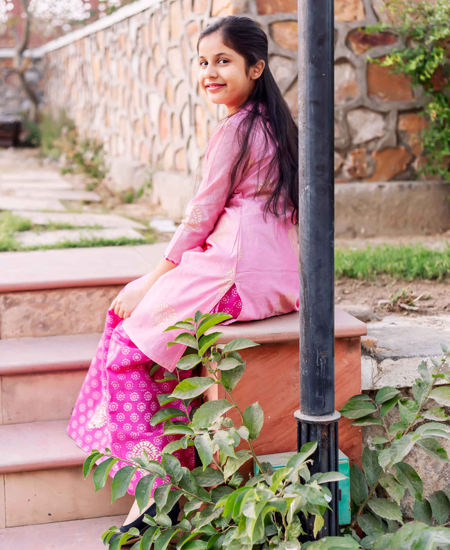 A Cut Pink Chaneri Hand Block Printed Kurta  For Girl online shopping