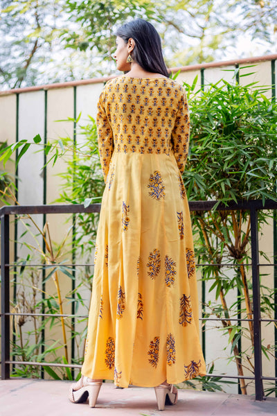 Anarkali Style Hand Block Printed Long Designer Gowns Online for Women