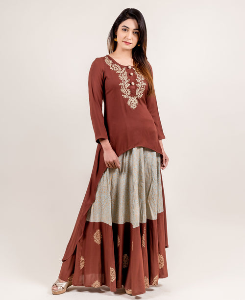 Asymmetrical Brown Embroidered Kurta with Gold Printed Skirt