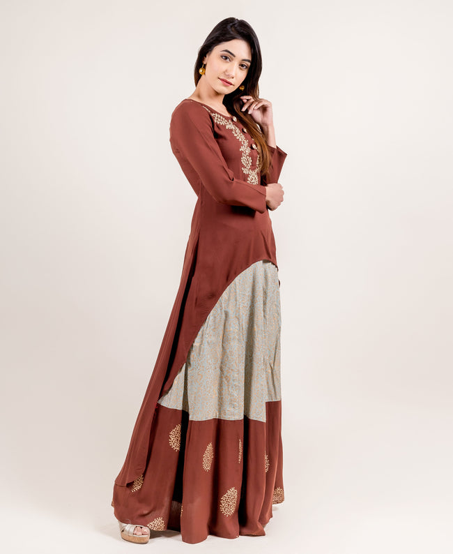 Asymmetrical Embroidered long Kurta for ladies