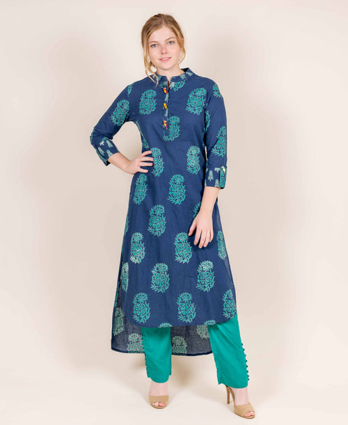 Asymmetrical Indigo Pointed Flat Kurta With Stirrup Buttoned Pants